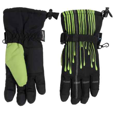 Grand Sierra Tusser Thinsulate® Snowboard Gloves - Waterproof, Insulated (For Little Boys) in Black W/Green - Closeouts