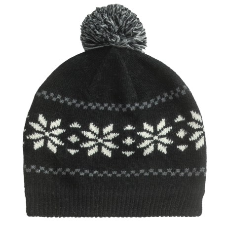 Grand Sierra Wool Blend Pompom Beanie Hat - Fleece Lining (For Women) in Black