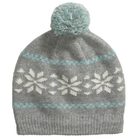 Grand Sierra Wool Blend Pompom Beanie Hat - Fleece Lining (For Women) in Grey