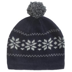 Grand Sierra Wool Blend Pompom Beanie Hat - Fleece Lining (For Women) in Navy