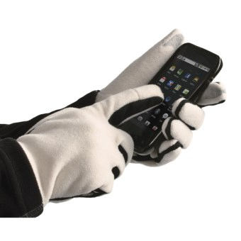 Grandoe Aphrodite Fleece Gloves - Touch-Screen Compatible (For Women) in Cream/Black
