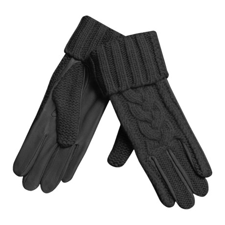 Grandoe Cashmere Gloves with Leather Palms (For Women) in Black