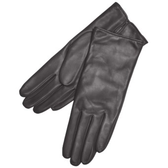 Grandoe Classique Leather Gloves - Cashmere Lining (For Women) in Black