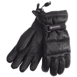 Grandoe Leather Arctic Down Gloves - Waterproof (For Women) in Black