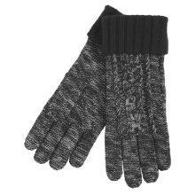 Grandoe Leto Sensor Touch Gloves - Wool Blend, Solid Cuff (For Women) in Black - Closeouts