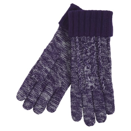 Grandoe Leto Sensor Touch Gloves - Wool Blend, Solid Cuff (For Women) in Eggplant