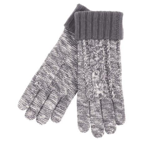 Grandoe Leto Sensor Touch Gloves - Wool Blend, Solid Cuff (For Women) in Grey