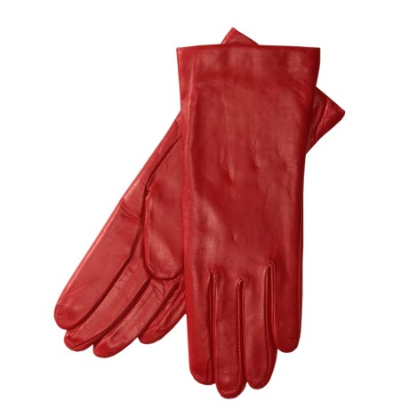 Grandoe Sheepskin Gloves - Cashmere Lining (For Women) in Deep Red