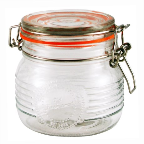 Grant Howard Old-Fashioned Embossed Glass Jar - 16.9 oz. in Clear
