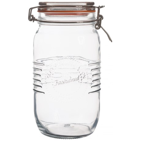 Grant Howard Old-Fashioned Embossed Glass Storage Jar - 50 oz. in Clear