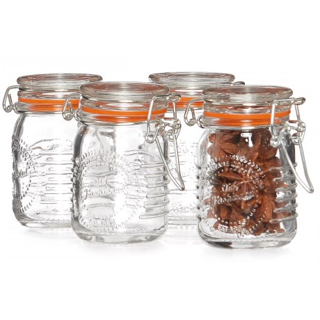 Grant Howard Old-Fashioned Glass Spice Jar Set - 4-Piece, 2.5 oz. in Clear