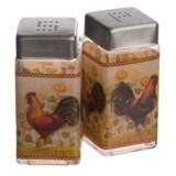 Grant Howard Rooster Glass Salt and Pepper Set