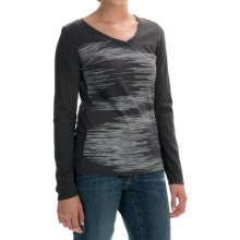 Graphic T-Shirt - Cotton Jersey, Long Sleeve (For Women) in Charcoal - 2nds