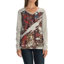 Graphic T-Shirt - Cotton Jersey, Long Sleeve (For Women) in Grey/Twilight - 2nds