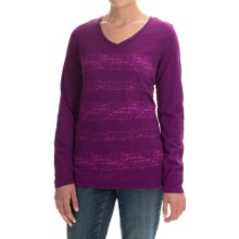 Graphic T-Shirt - Cotton Jersey, Long Sleeve (For Women) in Plum - 2nds