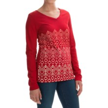 Graphic T-Shirt - Cotton Jersey, Long Sleeve (For Women) in Red - 2nds