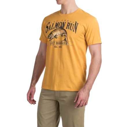 Graphic T-Shirt - Short Sleeve (For Men) in Salmon Run/Mustard - 2nds