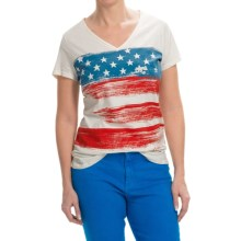 Graphic T-Shirt - Short Sleeve (For Women) in Ivory/American Flag - 2nds