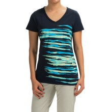 Graphic T-Shirt - Short Sleeve (For Women) in Navy/Blue Print - 2nds