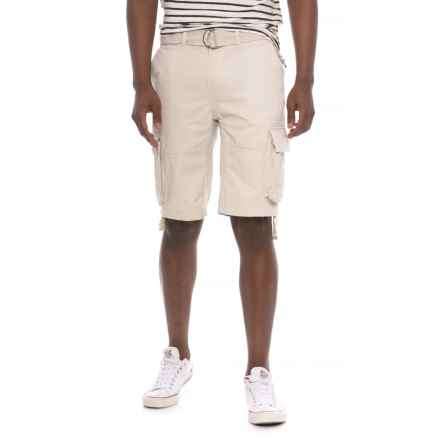 Gray Earth Belted Cargo Shorts (For Men) in Oatmeal - Overstock