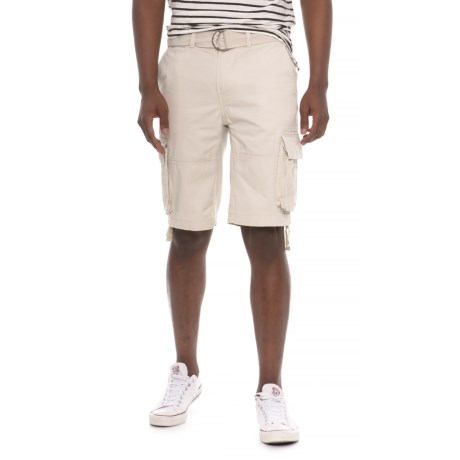 Gray Earth Belted Cargo Shorts (For Men) in Oatmeal