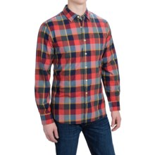 Grayers The Slub Poplin Plaid Shirt - Long Sleeve (For Men) in Olive/Orange/Navy - Closeouts