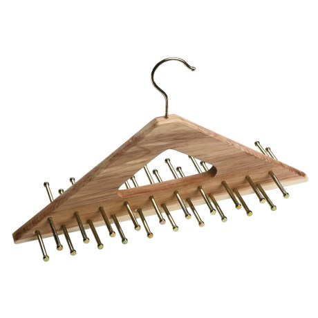 Great American Hanger Co. Cedar Tie Hanger - 40 Brass Pegs in Cedar