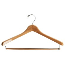 Great American Hanger Co. Deluxe Natural Finish Suit Hangers - Locking Pants Bar, 12-Pack in Natural - Overstock