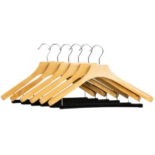 Great American Hanger Co. Deluxe Wooden Suit Hangers - Non-Slip Bar, 6-Pack in Natural - Closeouts