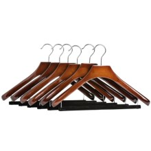Great American Hanger Co. Deluxe Wooden Suit Hangers - Non-Slip Bar, 6-Pack in Walnut - Closeouts