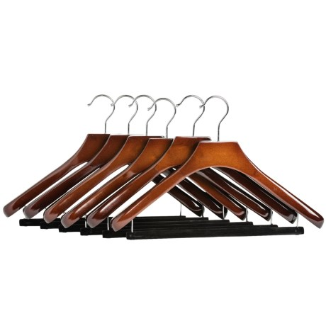 Great American Hanger Co. Deluxe Wooden Suit Hangers Non Slip Bar, 6 Pack