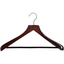 Great American Hanger Co. Wooden Suit Hanger--Non-Slip Bar, 6 pack in Walnut W/Felt Bar - Overstock
