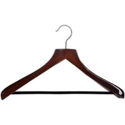 Great American Hanger Co. Wooden Suit Hanger--Non-Slip Bar, 6 pack in Walnut W/Felt Bar