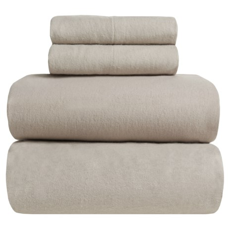 Great Bay Home Heavyweight Flannel Sheet Set - Full in Silver Cloud