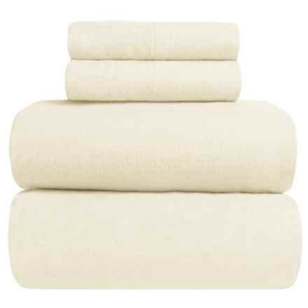 Great Bay Home Heavyweight Flannel Sheet Set - King in Prestine Ivory - Closeouts