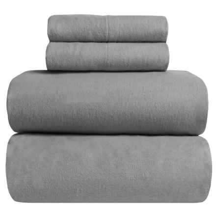 Great Bay Home Heavyweight Flannel Sheet Set - Queen in Frost Gray - Closeouts