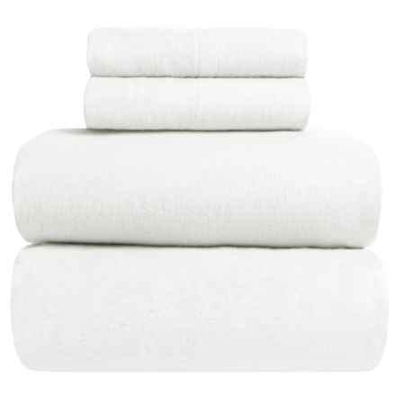 Great Bay Home Heavyweight Flannel Sheet Set - Queen in Winter White - Closeouts