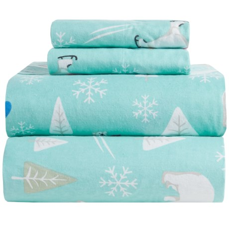 Great Bay Home Stratton Printed Flannel Sheet Set Full