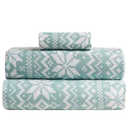 Great Bay Home Stratton Printed Flannel Sheet Set - Twin in Nordic Ether - Closeouts