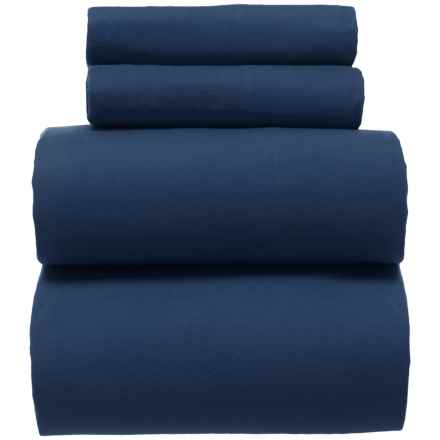 Great Bay Navy Turkish Cotton Flannel Sheet Set King In Closeouts
