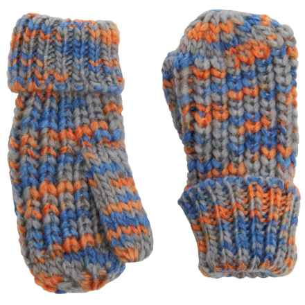 Great Northern Chunky-Knit Mittens (For Little Girls) in Grey/Blue/Orange - Closeouts