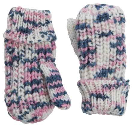 Great Northern Chunky-Knit Mittens (For Little Girls) in White/Blue/Pink - Closeouts