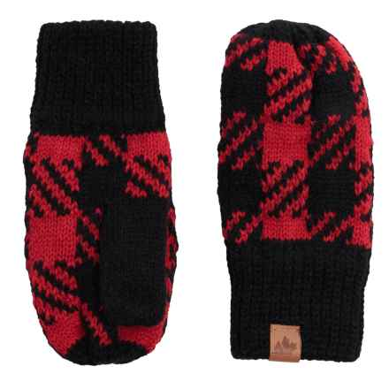 Great Northern Knit Mittens (For Little Kids) in Black/Red - Closeouts
