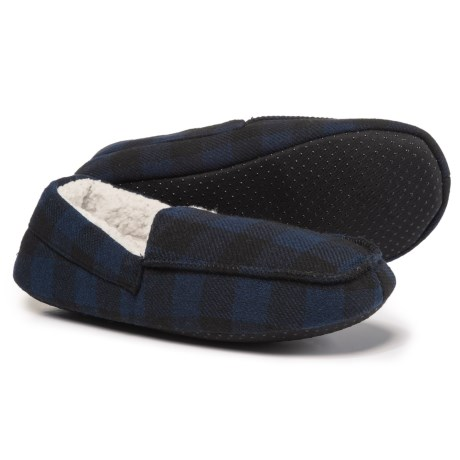 Great Northern Sherpa Fleece Loafer Slippers (For Men) in Blue Plaid