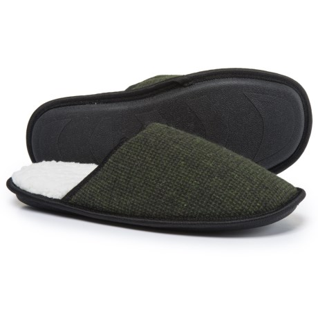 Great Northern Solid Scuff Slippers - Fleece Lined (For Men) in Olive