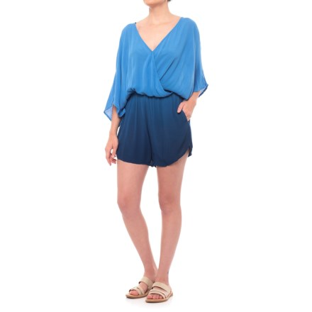 c10356778072 Green Dragon Dip-Dye Kimono Sleeve Romper - Elbow Sleeve (For Women) in