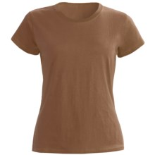 Greeting From Cotton Jersey T-Shirt - Short Sleeve (For Women) in Chocolate - Closeouts