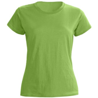 Greeting From Cotton Jersey T-Shirt - Short Sleeve (For Women) in Kiwi