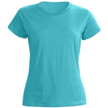 Greeting From Cotton Jersey T-Shirt - Short Sleeve (For Women) in Turquoise - Closeouts
