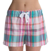 Greetings From Cotton Shorts (For Women) in Pink/Blue Plaid - Closeouts